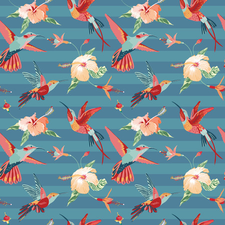 hummingbird: Hummingbird and Tropical Background - Retro seamless pattern in vector