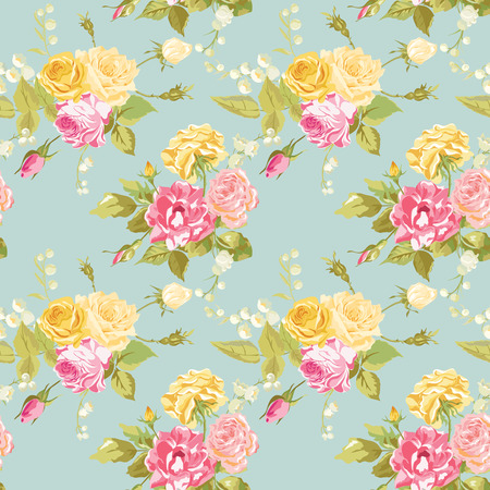 シームレスな花みすぼらしいシックな背景 - ヴィンテージ バラ花 - ベクトル