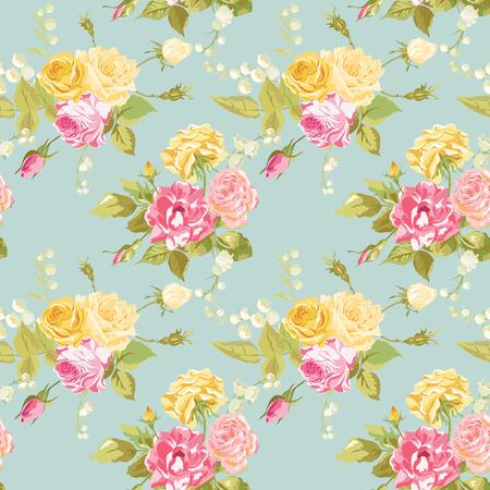 無縫花卉的破舊別緻的背景 - 復古玫瑰花 - 矢量 向量圖像