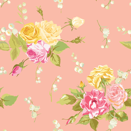 shabby: Seamless Floral Shabby Chic Background - Vintage Roses Flower- in vector