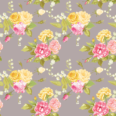 baby shower party: Seamless Floral Shabby Chic Background - Vintage Roses Flower- in vector