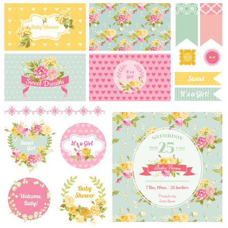girl: Baby Shower Flower Theme - Scrapbook Design Elements, Backgrounds - in vector