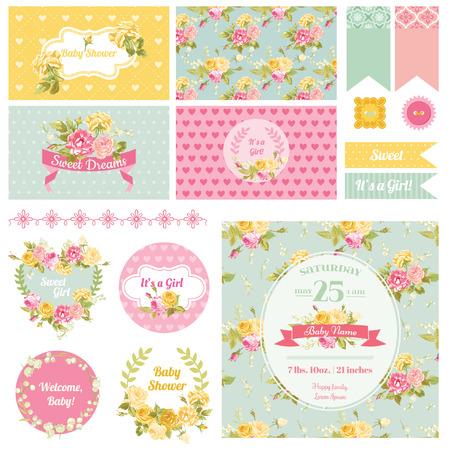 La flor del bebé tema de la ducha - Álbum de recortes elementos de diseño, Fondos - en vector Ilustración de vector