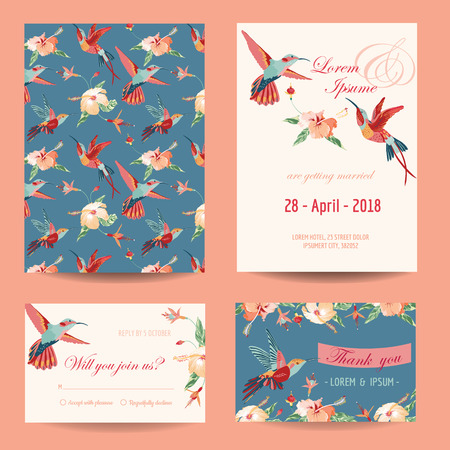 Uitnodiging, Save the Date Card Set - voor Huwelijk, Douche van de baby - in vector