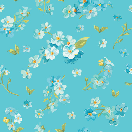 forget me not: Spring Blossom Flowers Background - Seamless Floral Shabby Chic Pattern - in vector