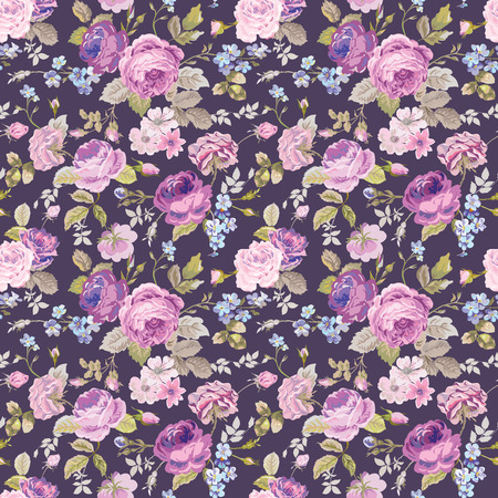 Spring Flowers Background - Seamless Floral Shabby Chic Pattern - in vector  イラスト・ベクター素材