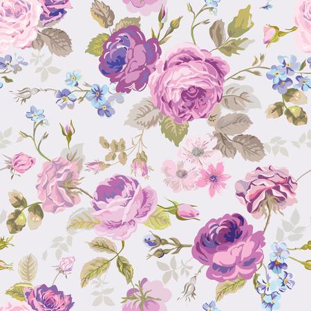 春の花の背景 - シームレスなみすぼらしいシックな花柄 - ベクトル