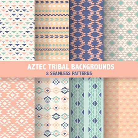 tribales: Vintage Fondos tribales aztecas - 8 Seamless Patterns - en vector