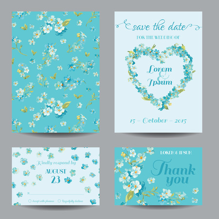 forget me not: Invitation or Greeting Card Set - for Wedding, Baby Shower - in vector Illustration
