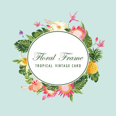 Floral Frame Card - Vintage Tropical Flower Background - in vector Illustration