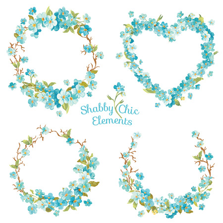 forget me not: Flower Banners and Tags - for your design and scrapbook - in vector