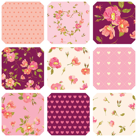 Patchwork with Roses Background - Seamless Floral Shabby Chic Pattern - in vector