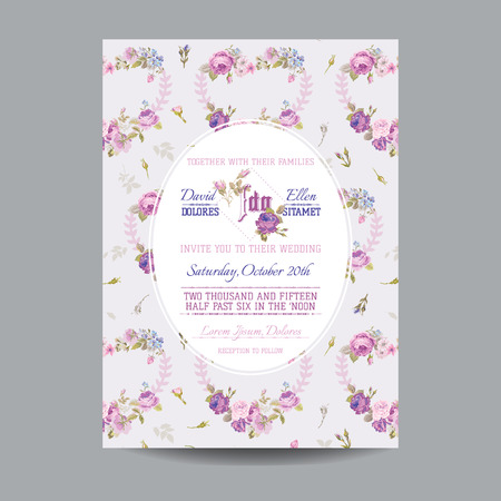 girl sleep: Baby Arrival or Shower Card - with Floral Blossom Design - in vector