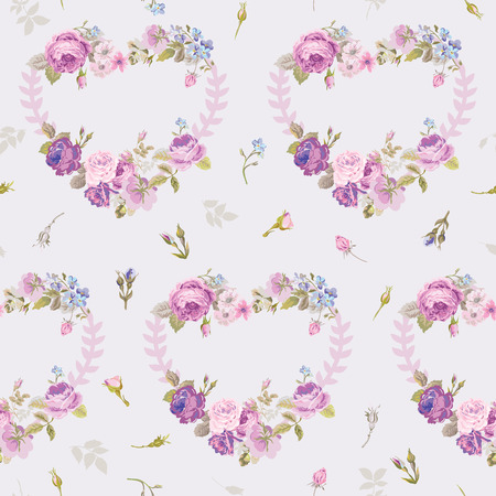 Spring Hearts Flowers Backgrounds - Seamless Floral Shabby Chic Pattern - in vector Vector