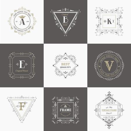 Vector Set: Uitstekende Frames en Banners, kalligrafische ontwerp elementen en monogrammen Stock Illustratie