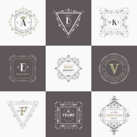 antique art: Vector Set: Vintage Frames and Banners, Calligraphic Design Elements and Monograms Illustration