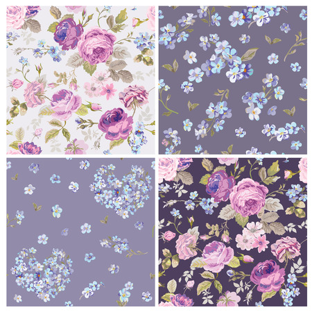 rose flowers: Set of Spring Flowers Backgrounds - Seamless Floral Shabby Chic Pattern - in vector