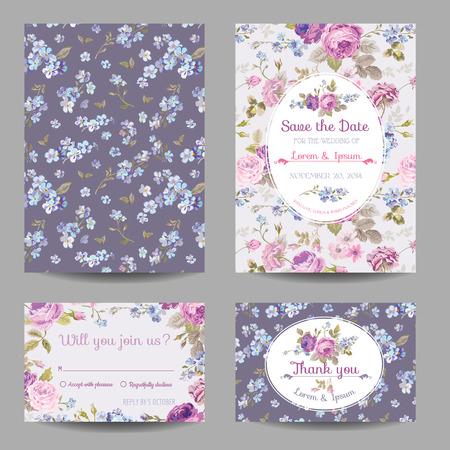 Einladung oder Glückwünsche Karten-Set - für Hochzeit, Baby-Dusche - in vector Illustration