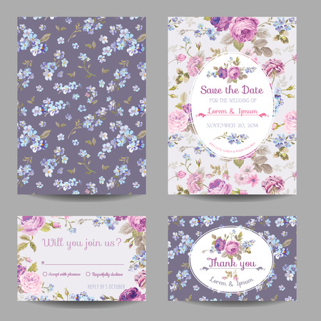 vintage postcard: Invitation or Congratulation Card Set - for Wedding, Baby Shower - in vector Illustration