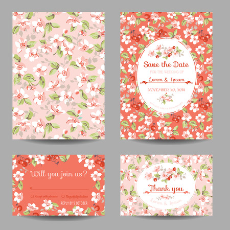 cherry pattern: Invitation or Congratulation Card Set - for Wedding, Baby Shower - in vector Illustration