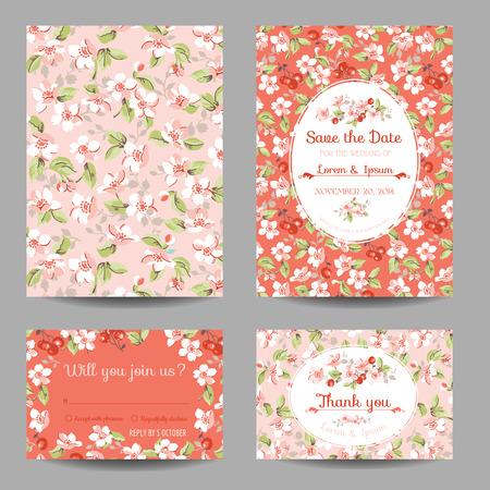 fleur cerisier: Invitation ou Congratulation Card Set - pour le mariage, Baby Shower - dans le vecteur