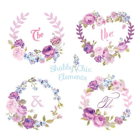 花のバナーとタグ - あなたのデザインとスクラップ ブック - ベクトル  イラスト・ベクター素材
