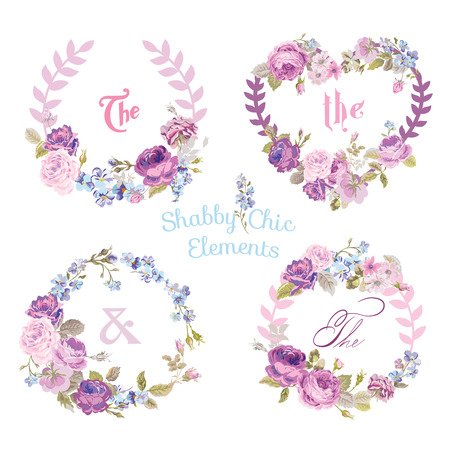 Flower Banners and Tags - for your design and scrapbook - in vector Фото со стока - 38957492