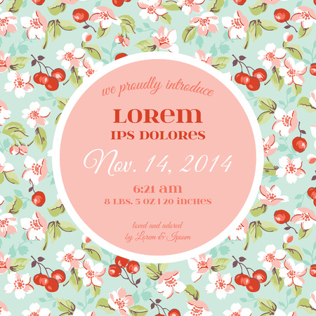 baby boy announcement: Baby Arrival or Shower Card - with Violet Rose Flower Design - in vector