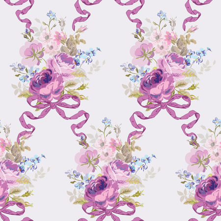 Spring Flowers Backgrounds - Seamless Floral Shabby Chic Pattern - in vector Vector