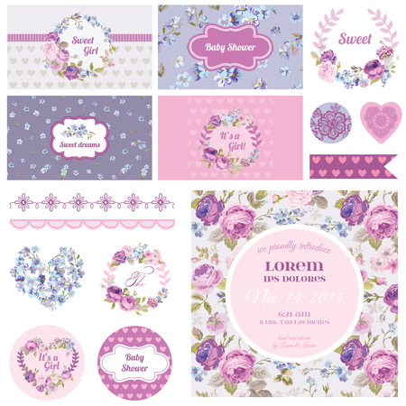 neonato: Álbum de recortes elementos de diseño - Baby Shower Flower Theme - vector