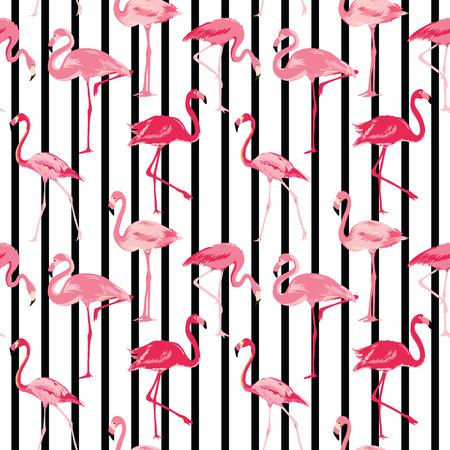 Flamingo ptak�w w tle - Retro szwu w wektorze Ilustracja