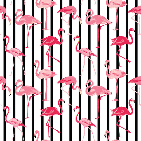 Flamingo Bird Background - Retro seamless pattern in vector Illustration