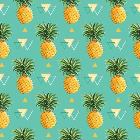 frutas tropicales: Geométrico piña Fondo - modelo inconsútil en vector Vectores