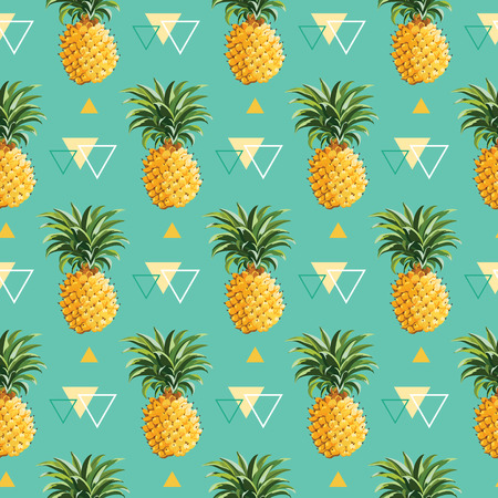 Geometrische Pineapple Achtergrond - naadloze patroon in vector Stock Illustratie