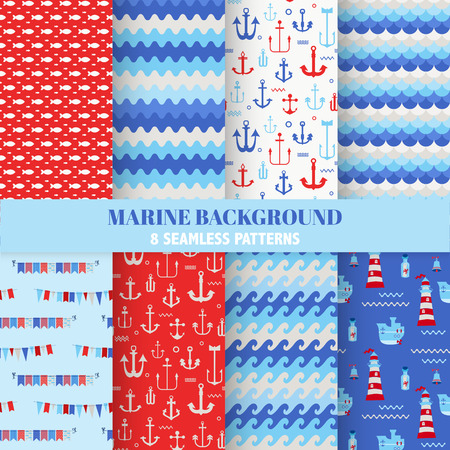away travel: Set of Marine Backgrounds - Seamless Sea Time Pattern - in vector