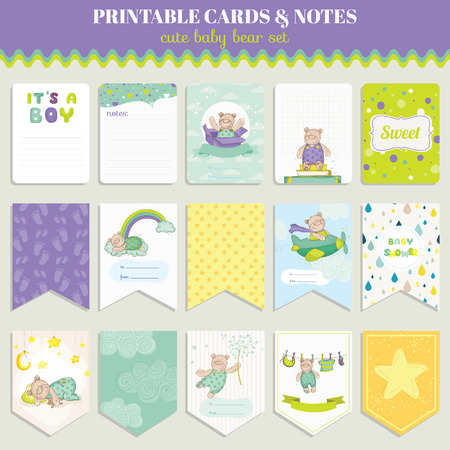 child sleeping: Baby Bear Card Set - for birthday, baby shower, party, design - in vector