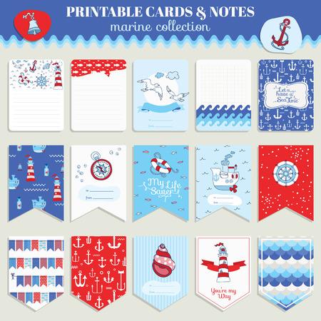 sea: Nautical Sea Card Set - for scrapbook, wedding, party, design - in vector Illustration