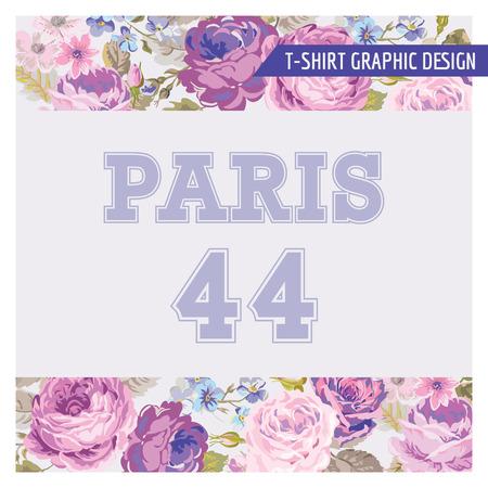 花みすぼらしいシックなグラフィック デザイン - ファッション、t シャツのプリント - ベクトル