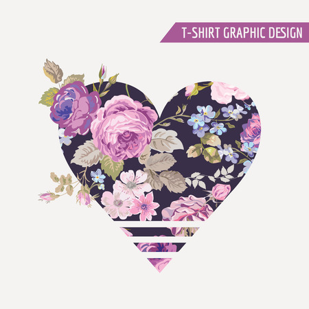 floral heart: Floral Heart Graphic Design - for t-shirt, fashion, prints - in vector