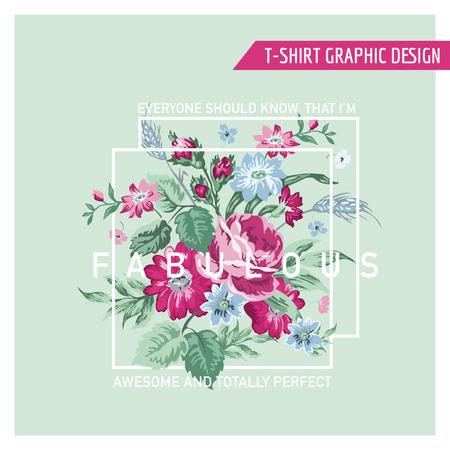 femme romantique: Floral Design graphique - pour t-shirt, de la mode, gravures - dans le vecteur Illustration