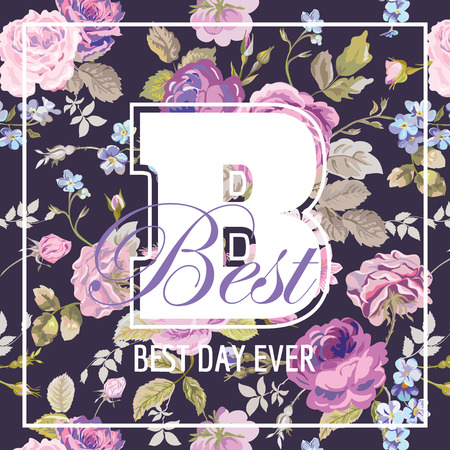 slogans: Shabby Chic Flowers Graphic Design - for t-shirt, fashion, prints - in vector