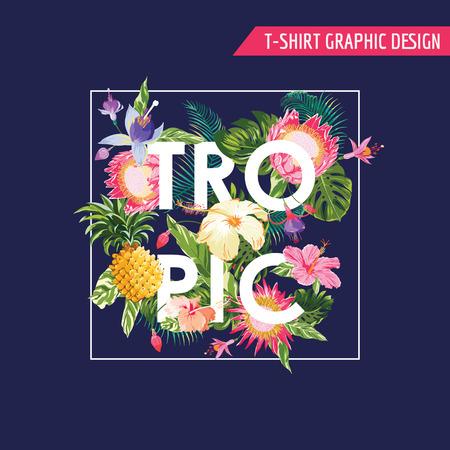 Тропические цветы Графический дизайн - для футболки, мода, отпечатков - в векторе Иллюстрация