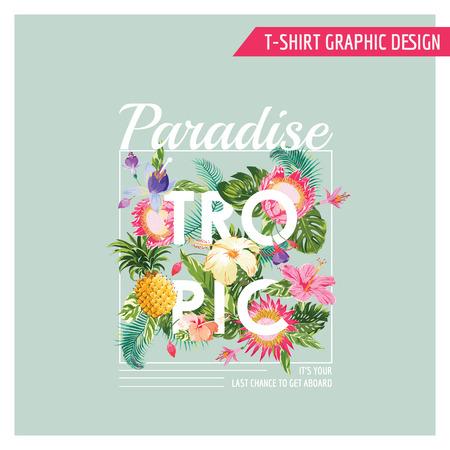 romantique: Fleurs Tropical Design graphique - pour t-shirt, de la mode, gravures - dans le vecteur Illustration