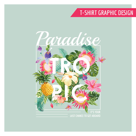 lãng mạn: Hoa nhiệt đới Thiết kế đồ họa - cho t-shirt, thời trang, bản in - trong vector
