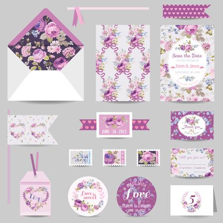 Set Wedding Stationair - uitnodigingskaart, sparen de Datum, RSVP - met Shabby Chic Roses Achtergrond - in vector Stock Illustratie