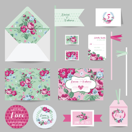 rsvp: Set of Wedding Stationary - Invitation Card, Save the Date, RSVP - with Floral Blossom Background - in vector Illustration
