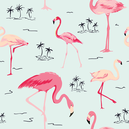 Flamingo Bird Background - Retro seamless pattern in vector Vettoriali