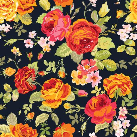 빈티지 꽃 배경 - 디자인, 인쇄에 대한 원활한 패턴, 스크랩북 - 벡터