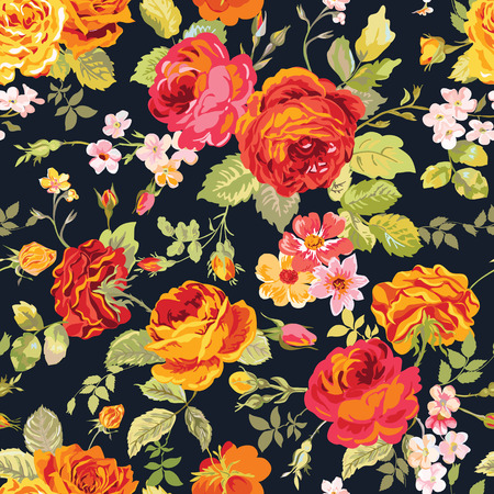 hearts and roses: Vintage Floral Background - seamless pattern for design, print, scrapbook - in vector Illustration