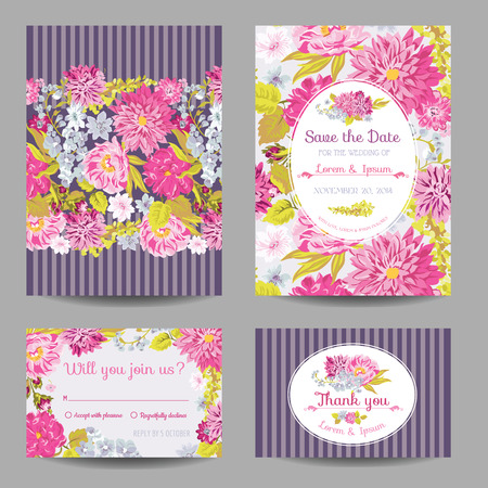 shabby chic: Invitation or Greeting Card Set - for Wedding, Baby Shower - in vector Illustration